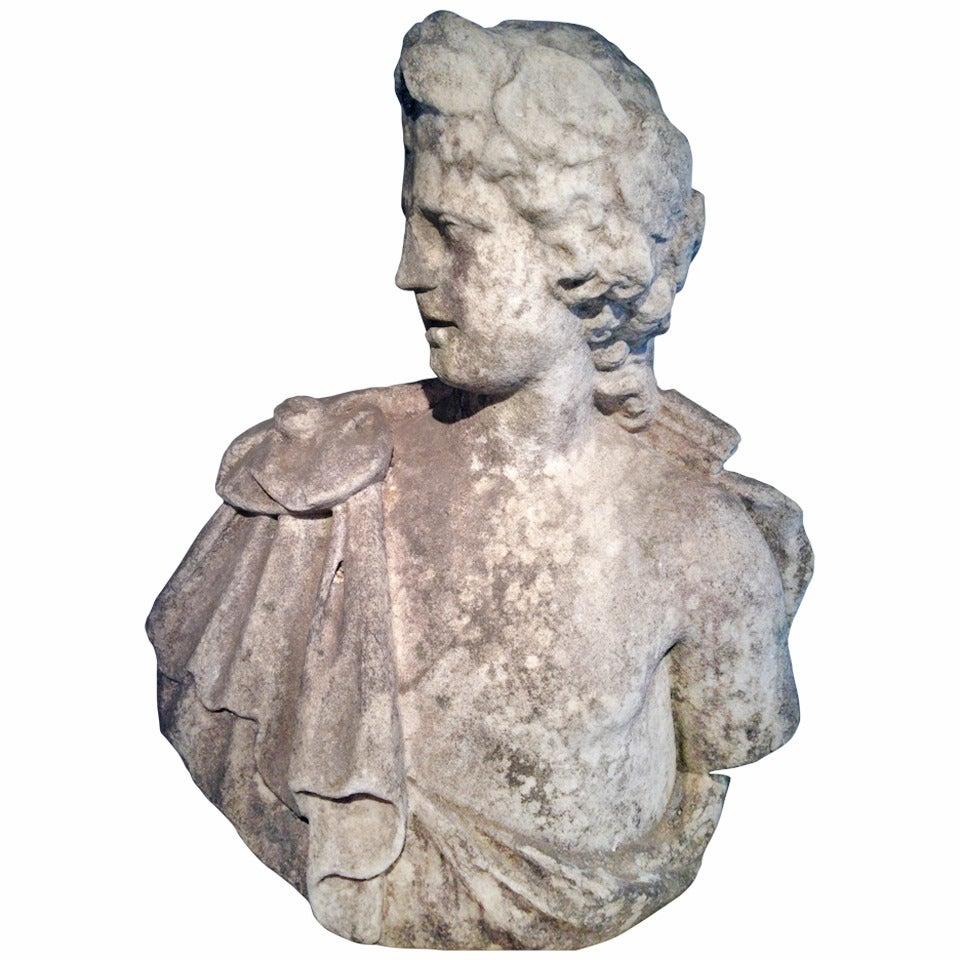 Stunning 18th Century Lifesize Marble Bust of Apollo