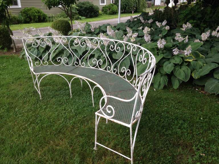 Mid-20th Century Wrought Iron French Garden Bench For Sale