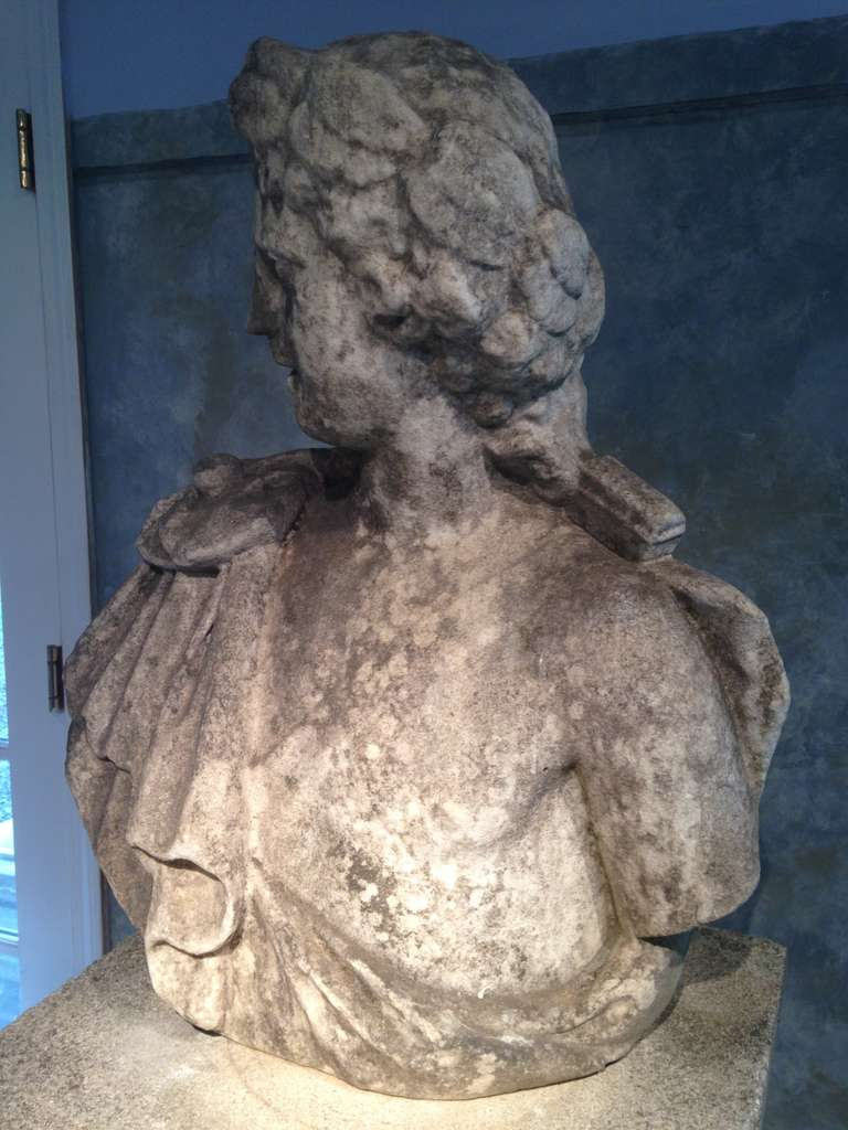 Neoclassical Stunning 18th Century Lifesize Marble Bust of Apollo For Sale