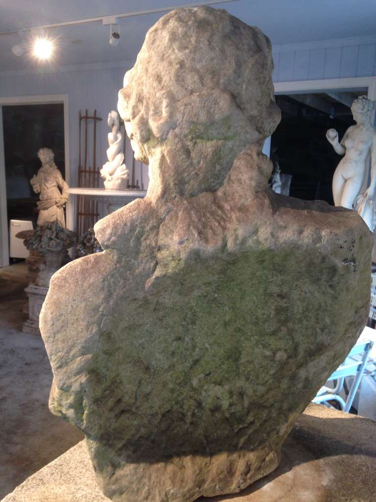 Hand-Carved Stunning 18th Century Lifesize Marble Bust of Apollo For Sale