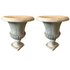 Large Pair of Hand-Carved Marble Urns