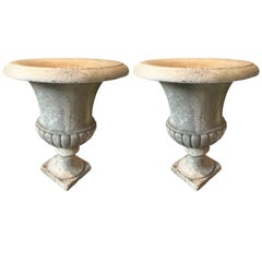 Large Pair of Hand-Carved 19th Century Marble Urns