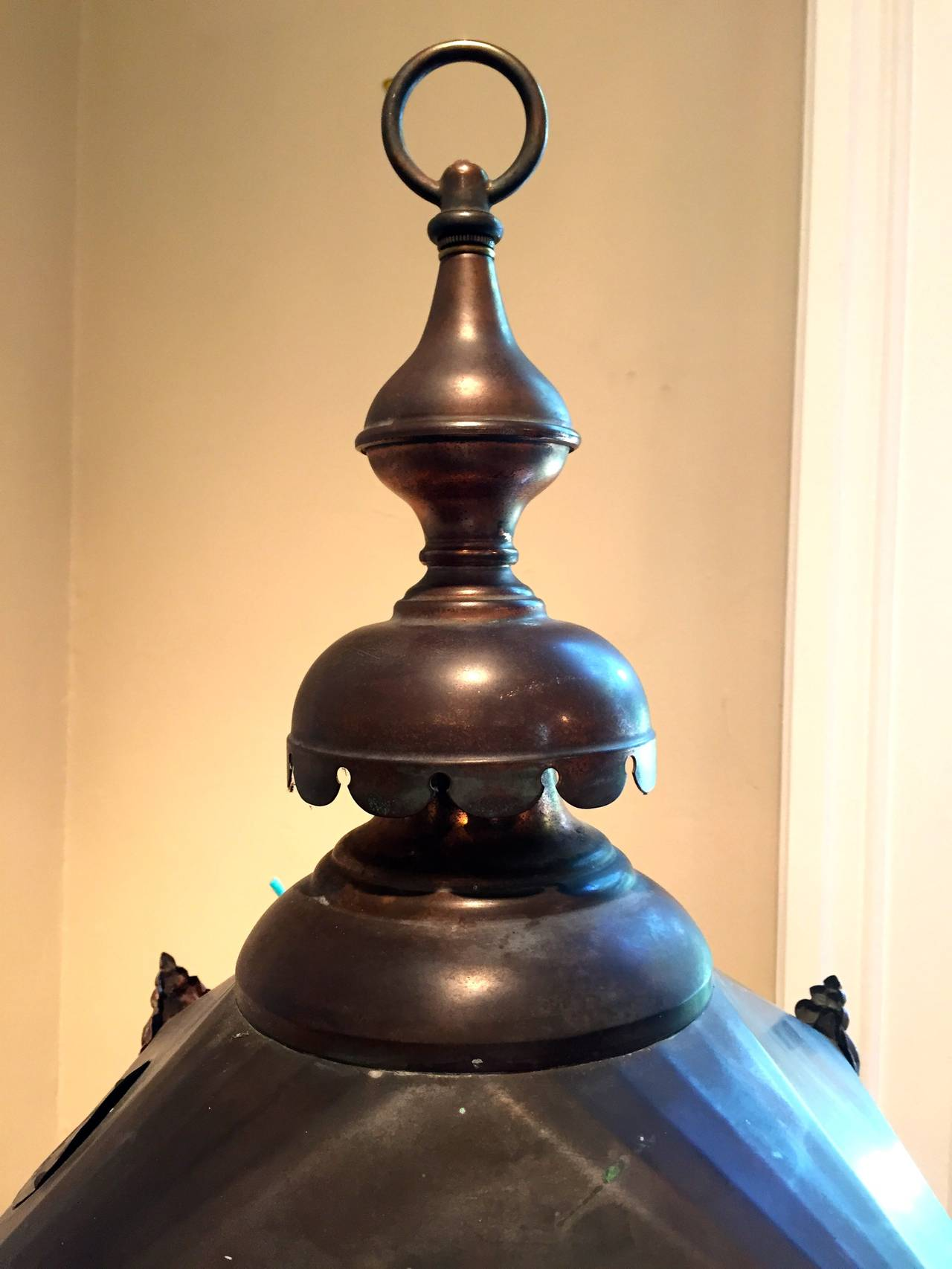 English Copper Hanging Lantern in Rare Smaller Size For Sale at ...
