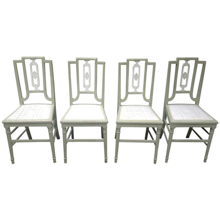 Set Of 4 Painted Oak Dining Chairs At 1stdibs