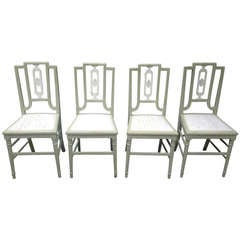 Set of Four Painted Oak Dining Chairs
