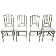 Set of Four Painted Oak Dining Chairs in Sage Green Paint