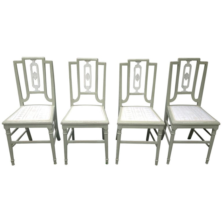 Set of Four Painted Oak Dining Chairs in Sage Green Paint For Sale