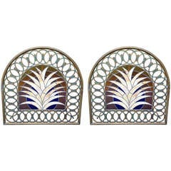 Pair of Deco Stained Glass Miami Beach Headboards