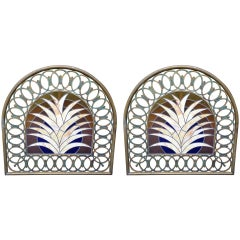 Pair of Art Deco Stained Glass Miami Beach Headboards