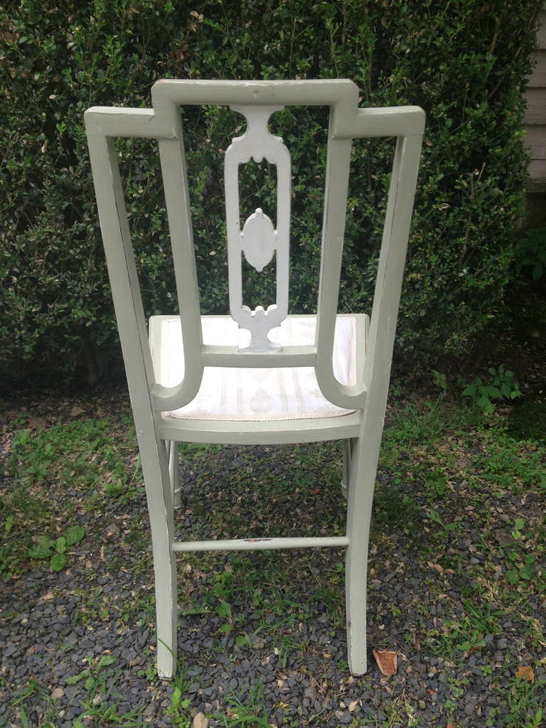 20th Century Set of Four Painted Oak Dining Chairs in Sage Green Paint For Sale