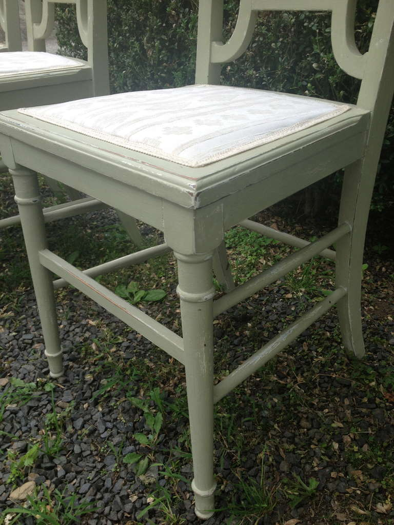 Set of Four Painted Oak Dining Chairs in Sage Green Paint For Sale 1