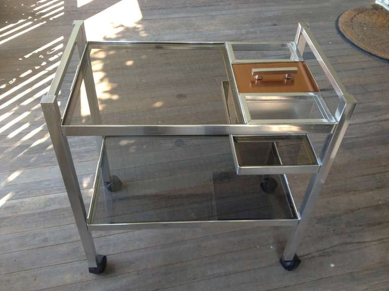Mid-Century English Cocktail Trolley in Chrome and Smoked Glass For Sale 2