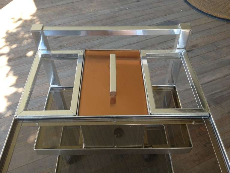 Mid-Century English Cocktail Trolley in Chrome and Smoked Glass For Sale 3
