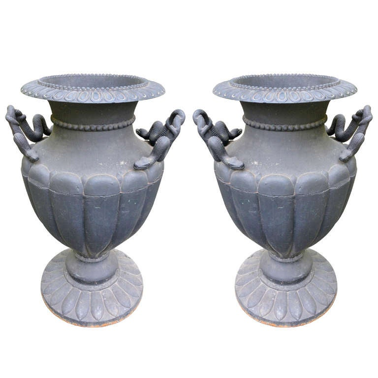 Impressive Pair of Overscale Cast Iron Urns