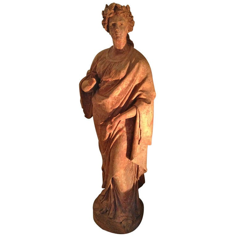 Magnificent and Rare Life-Size Terracotta Statue of Flora
