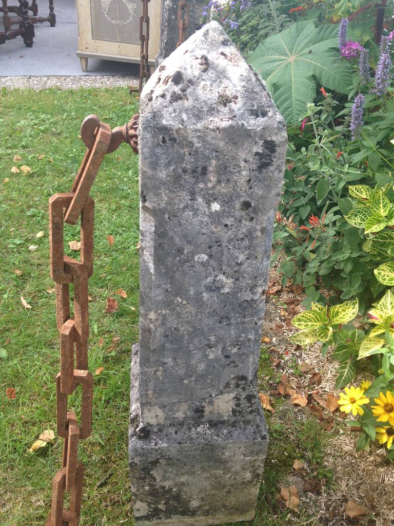 Elegant Pair Of French Limestone Obelisks With Hand Forged
