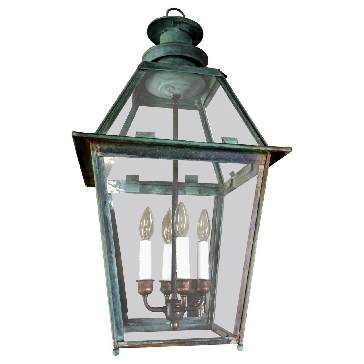 Natural Verdigris Copper Lantern