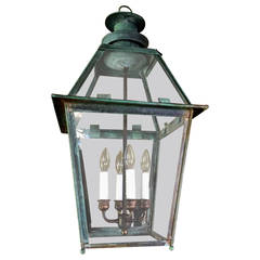English 19th Century Natural Verdigris Copper Lantern