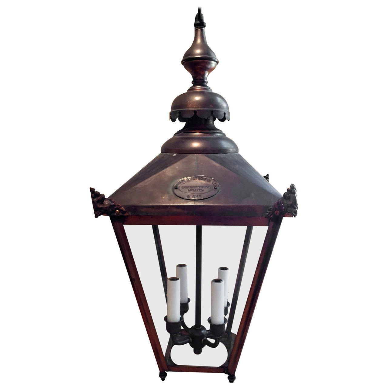 English Copper Hanging Lantern In Rare Smaller Size For