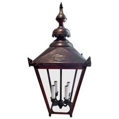 English Copper Hanging Lantern in Rare Smaller Size