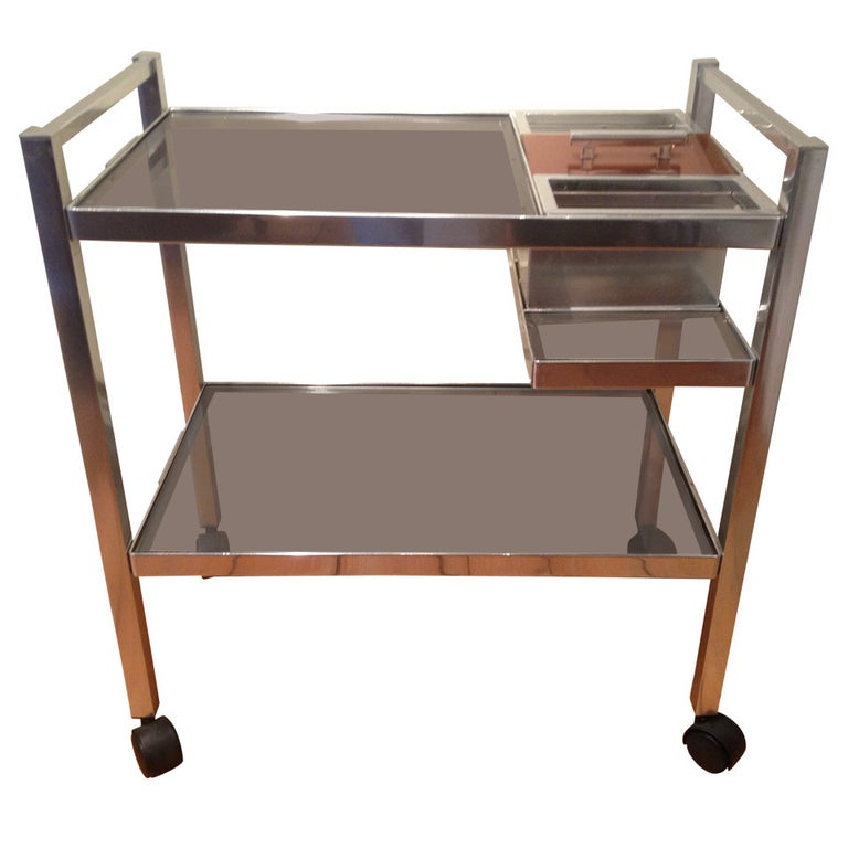 Mid-Century English Cocktail Trolley in Chrome and Smoked Glass For Sale