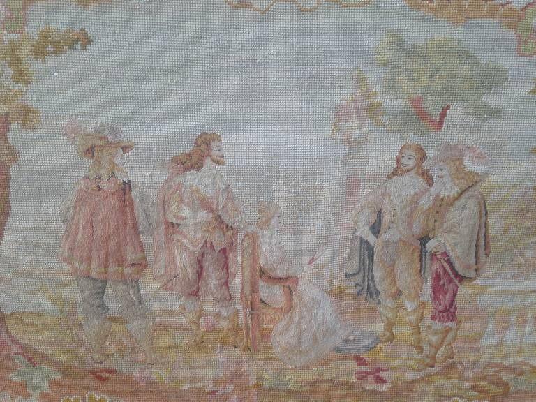 19th Century French Walnut Sofa with Original Musketeers Tapestry 3