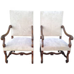 Fabulous Large Pair of 19th Century French Walnut Fauteuils or Throne Chairs