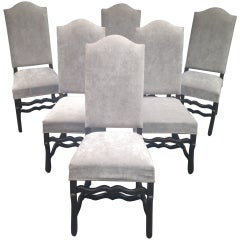 Set of Six Arch-Top Louis XIII Style Os de Mouton Dining Chairs