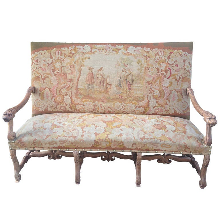 19th Century French Walnut Sofa with Original Musketeers Tapestry For Sale