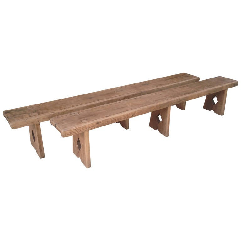 Pair Of French Country Benches In Sycamore At 1stdibs