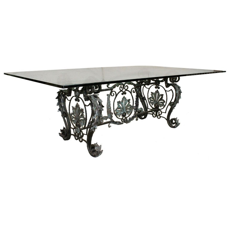 Estate-Sized Bronze And Wrought Iron Dining Table At 1stdibs