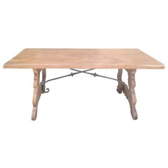 French Oak and Iron Refectory Dining Table