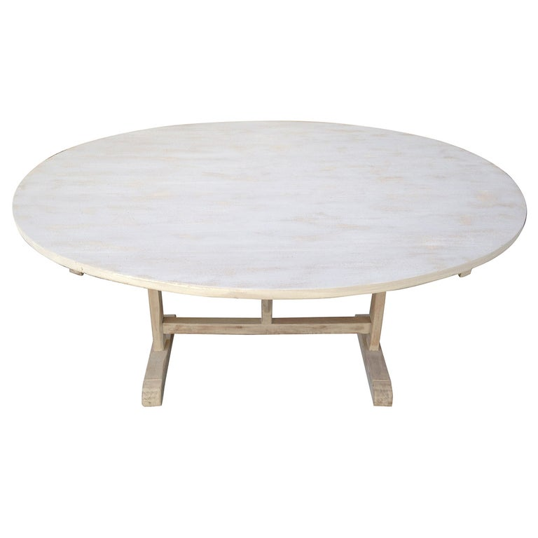 Large 19th Century French Poplar and Oak Oval Wine-Tasting Table For Sale
