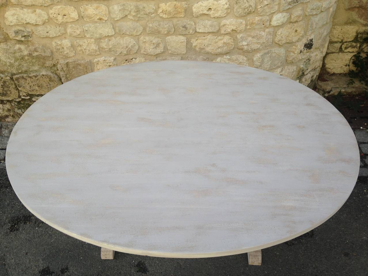 Large 19th Century French Poplar and Oak Oval Wine-Tasting Table For Sale 1