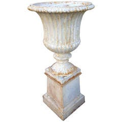 Classical Pair of 19th Century Campana Urns on Plinths