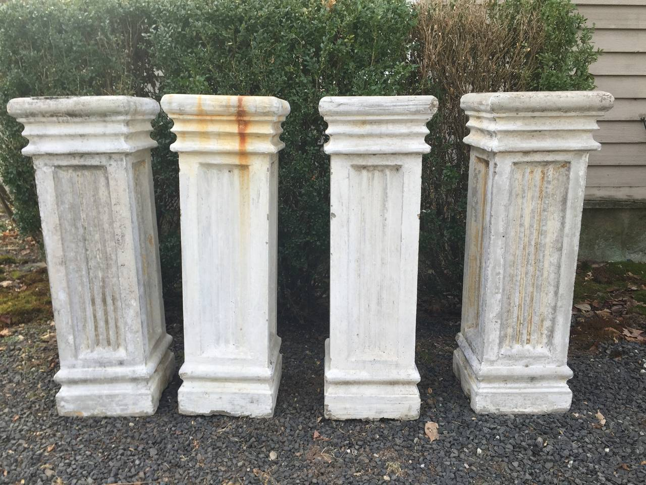 Two Pairs of Tall Fluted Cast Stone Pedestals For Sale at 1stdibs