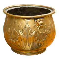 19th C Large Brass Repoussé Dutch Planter