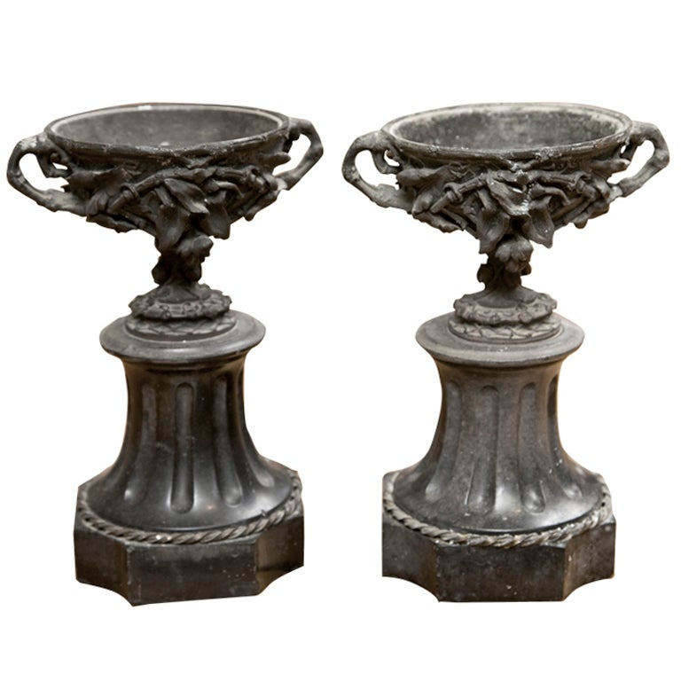 Fabulous Pair French Bronze and Marble Garniture Urns