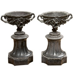 Fabulous Pair of French 19th Century Bronze and Marble Garniture Urns