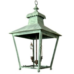 Painted English 19th Century  Copper Lantern