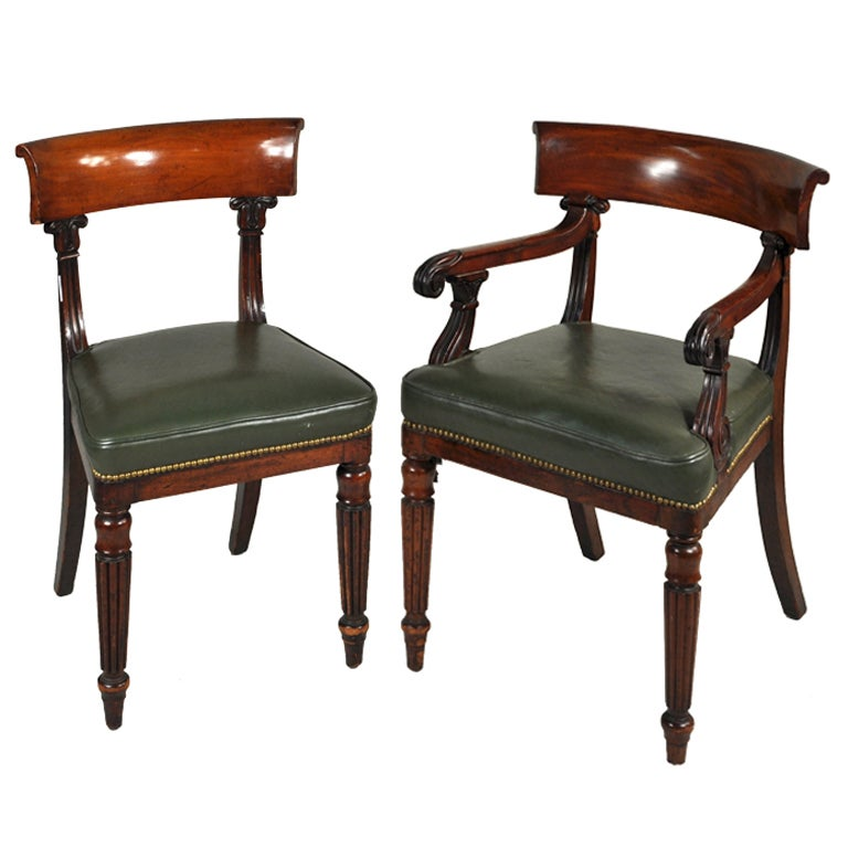 Set Of Ten Regency Carved Mahogany Dining Chairs At 1stdibs