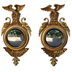 Pair Classical Carved and Gilded Convex Mirrors