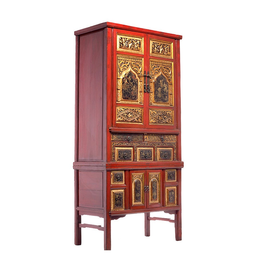 Antique chinese red lacquer cabinet at 1stdibs for Antique asian cabinet