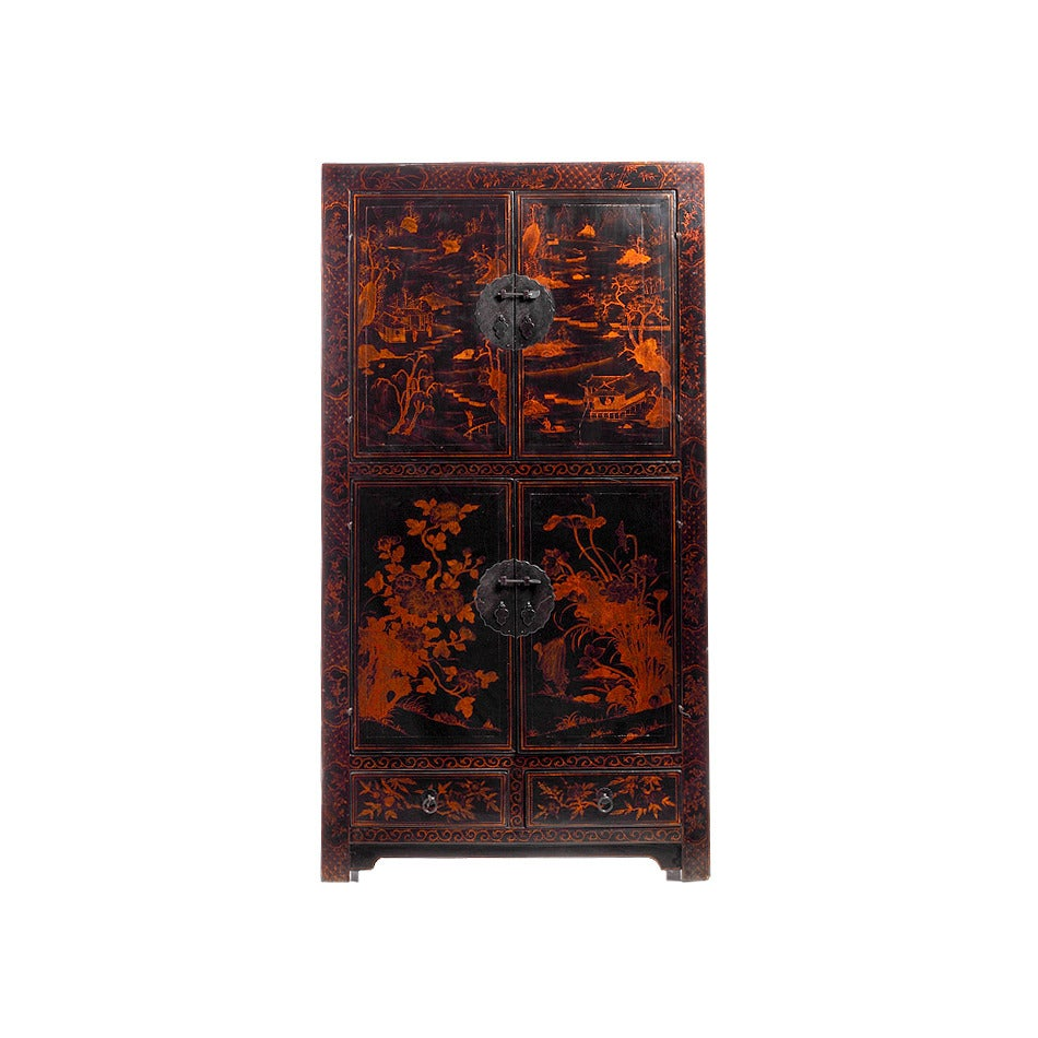 Chinese black lacquered two section cabinet for sale at for Chinese black lacquer furniture