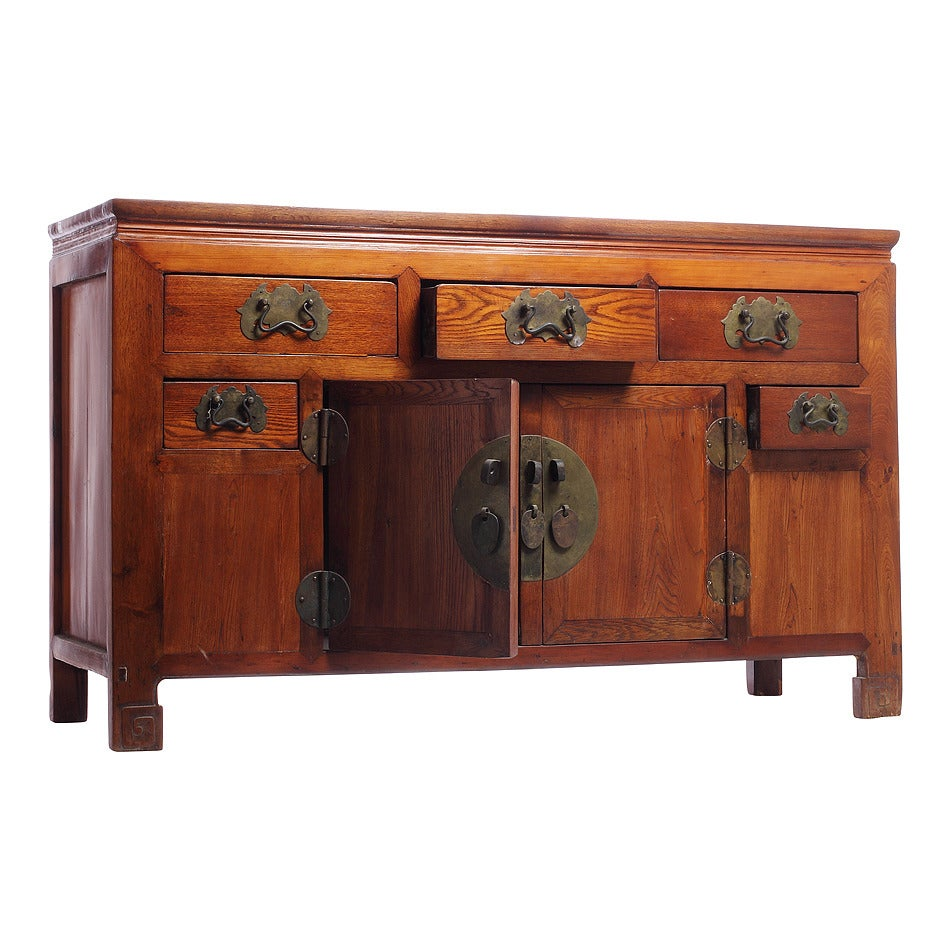 19th Century Chinese Buffet with Drawers, Doors and Traditional Iron Hardware In Excellent Condition For Sale In Yonkers, NY