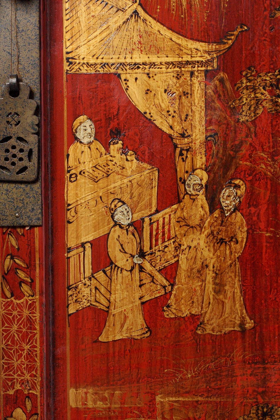 Large 19th Century Red Lacquer And Gold Chinoiserie