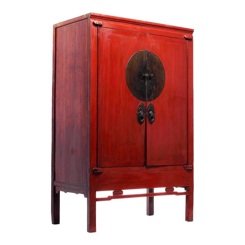 Antique Chinese Red Lacquer Wedding Cabinet 3 - Antique Chinese Red Lacquer Wedding Cabinet At 1stdibs