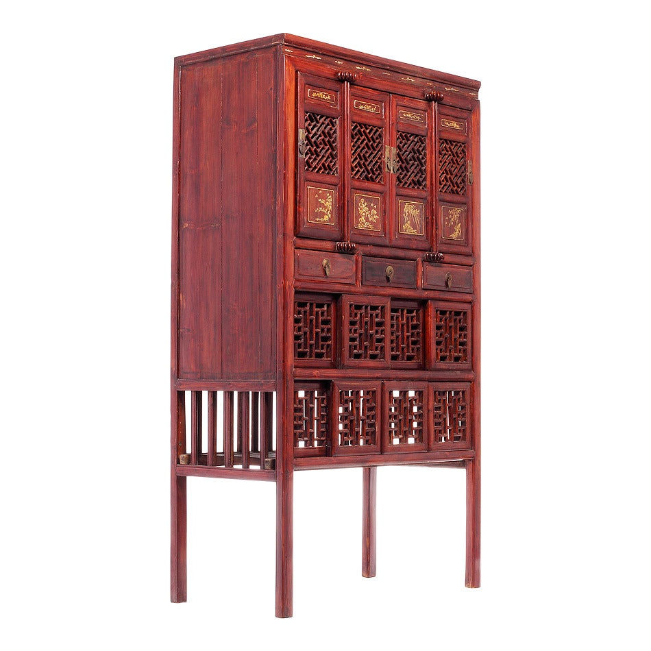 Antique red lacquer chinese fretwork cabinet at 1stdibs for Red chinese furniture