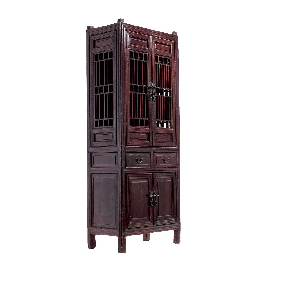 Dark Brown Chinese Kitchen Cabinet with Fretwork Doors the Late 19th Century In Good Condition For  sc 1 st  1stDibs & Dark Brown Chinese Kitchen Cabinet with Fretwork Doors the Late 19th ...