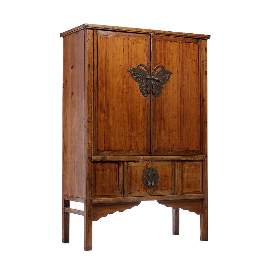 Antique chinese armoire butterfly hardware for sale at 1stdibs for Chinese antique furniture singapore